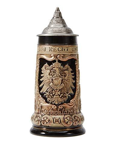 Amoy-Art Jarra de Cerveza Alemana Escudo de Alemania German Beer Stein Mug Regalos Souvenirs Giftbox 0.8Litre