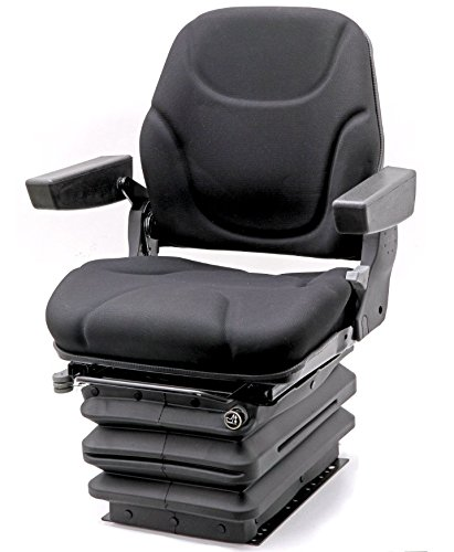 Traktorsitz Luftsitz Schleppersitz Baumaschinensitz Fahrer-Sitz luftgefedert mit Armlehnen Kompressor 12V