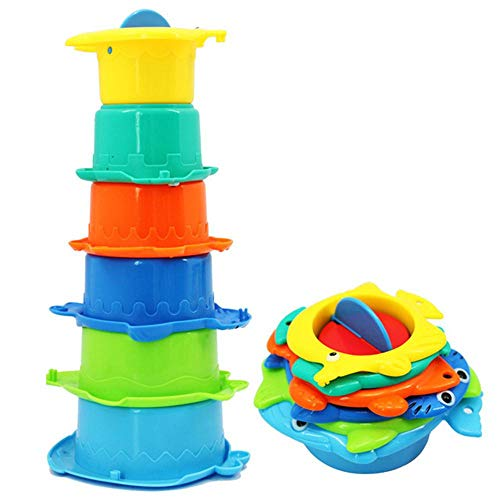 BZD Badewannen-Stapelbecher, 6 Stück, Raupenform, stapelbar, bunte Farben, Badespielzeug, perfekt für Badewannen, Lernspielzeug, Badespielzeug für Kinder