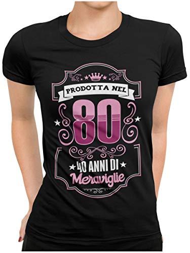 STAMPATEK Maglietta Compleanno 40 Anni Donna Tshirt Festa a Sorpresa Maglia Idea Regalo T-Shirt Divertente Maniche Corte
