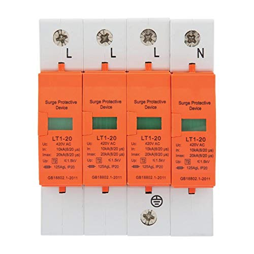 Dispositivo supresor de sobretensiones AC 420V, protector contra sobretensiones de la casa 4P 20KA Dispositivo supresor de baja tensión trifásico de cuatro cables