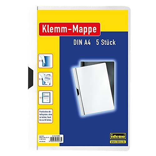 Idena 300576 - Carpetas estilo dossier con pinza, A4, 5 unidades, color blanco