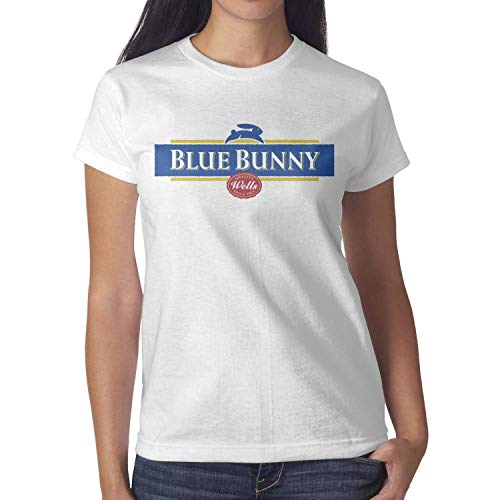 Fisesxx Solid Perfomance Womens Best-Blue-Bunny-Cream-Short ComfortSoft T-Shirt Organic