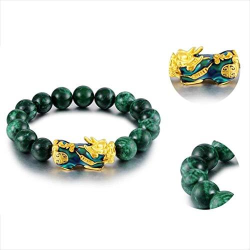 Pulsera suerte, Las pulseras de riqueza Shui piedra de la energía verde natural cuentas de ónix oro Pixiu pulsera del encanto pulsera suerte for las mujeres valientes riqueza Feng Atraer abundancia y