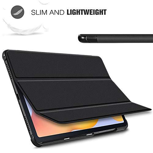 ELTD Hülle für Samsung Galaxy Tab S6 Lite,Ultra Lightweight Flip mit Ständer und Eingebautem Magnet Hochwertiges PU Leder Schutzhülle für Samsung Galaxy Tab S6 Lite 10,4 Zoll Tablet (Schwarz)