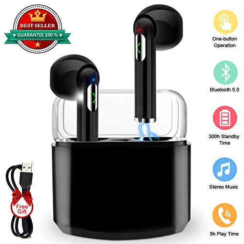 Wireless Earbuds,Bluetooth Earbuds Wireless Earphones Stereo Wireless Earbuds with Microphone/Charging Case Bluetooth in Ear Earphones Sports Earpieces Compatible iOS Samsung Android Phones