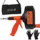 DrainX 25 FT Heavy Duty Ergonomic Load Support Drain Auger - Extra Grip Support Handle - Unclogs Household Drains, Pipes, Gutters
