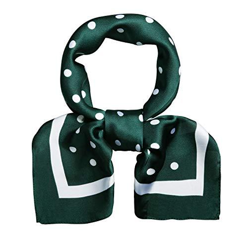 SOJOS Bandana Nicki-Tuch Damen Halstuch Kopftuch Seidentuch mit Polka Dot 70 x 70 SC317 (C13 Grün mit kleinem Punkt)