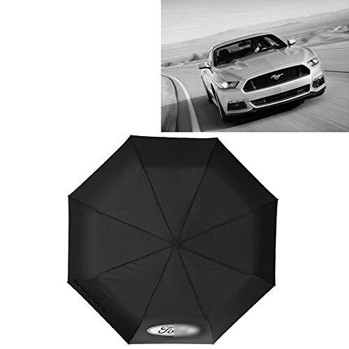 YYD Auto-Spielraum-faltender Regenschirm, Regenschirm Ergonomischer Griff Auto Öffnen und Schließen, kompaktes bewegliches Regenschirm mit Auto-Logo,Ford