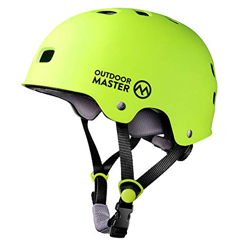 OutdoorMaster Skateboard Cycling Helmet - Two Removable Liners Ventilation Multi-Sport Scooter Roller Skate Inline Skating Rollerblading for Kids, Youth & Adults - L - Lemon