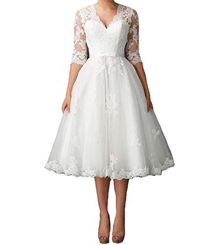Nanger Damen V-Ausschnitt Hochzeitskleider Kurz mit 1/2 Ärmel Spitze Brautkleider Strand Elfenbein 52