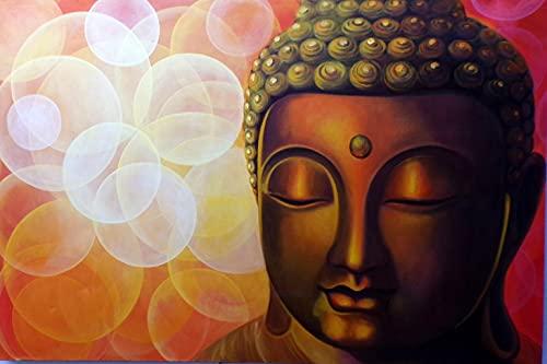 Marblechic - Cuadro pintado cara de Buda naranja sol 150 x 100 cm cabecero cama cara Buda blanco negro