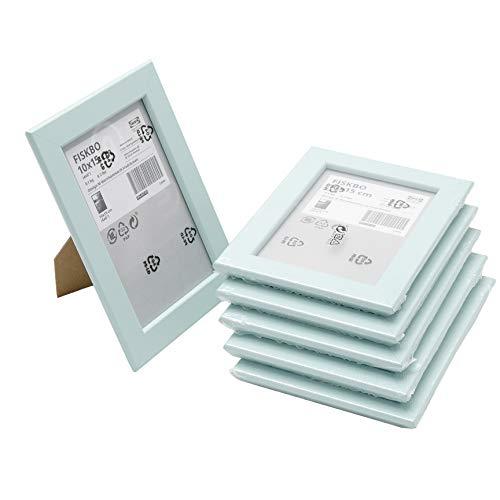 Ikea FISKBO - Marco de fotos (10 x 15 cm, 6 unidades), color azul claro y turquesa