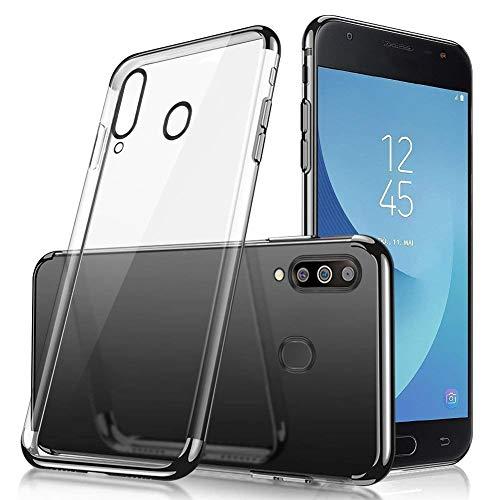 Uposao Compatible avec Coque Samsung Galaxy M30 Transparent Cristal Clair Silicone Gel Coque de téléphone + Glitter Placage Métal Coque Ultra Mince Souple Flexible Bumper Case Housse Etui,Noir