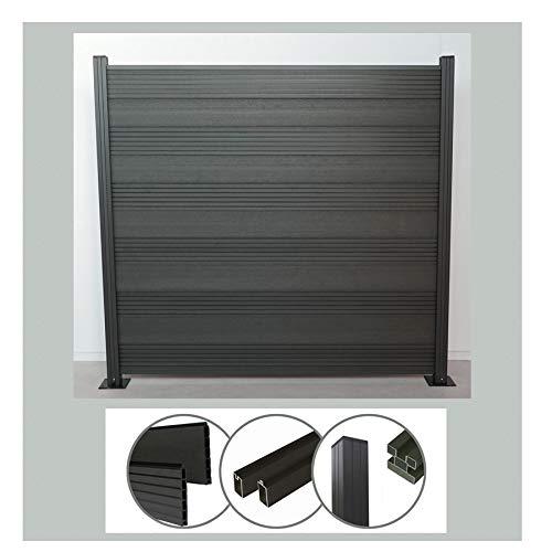 Komplettset WPC Zaun Sichtschutz Steckzaun (Höhe 185 cm/Breite 180 cm) zum Einbetonieren anthrazit (Serie WoodoTexel) (4 x Zaun + 5 Pfosten)