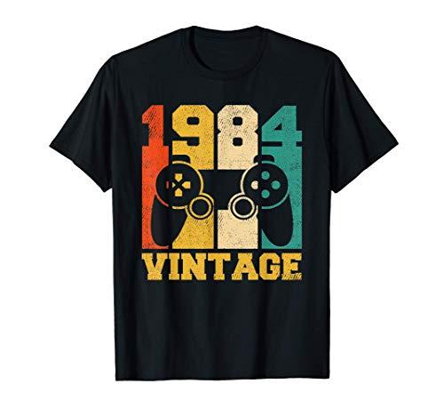 Regalos de 37 años Vintage Videojuego 1984 37 cumpleaños Camiseta