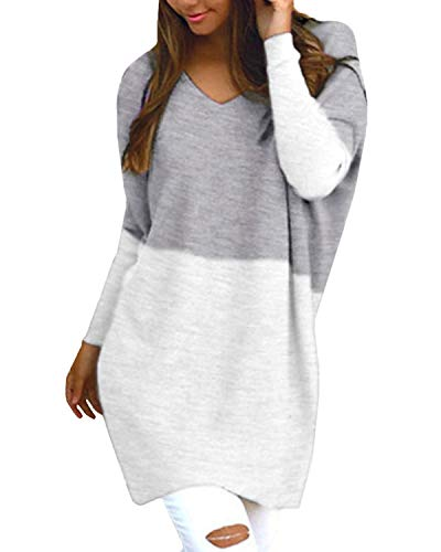 Style Dome Women Long Jumpers Oversized Top Long Sleeve Sweater Sweatshirt V Neck Plus Size Shirt Dress Baggy Pullover 01 Pale 8