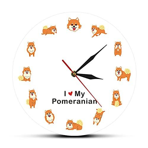 Patrón Reloj de Pared Amo a mi perro Pomerania estilo de dibujos animados moderno impreso reloj de...