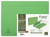 Exacompta フォーエバー ドキュメント ウォレット ボックスファイル A4 リサイクル 再生紙 (グリーン)
