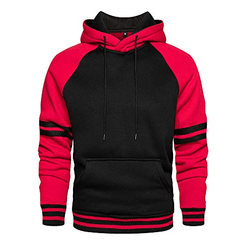 LBL - Sudadera para hombre con capucha de colores vivos, manga larga, bolsillo canguro para invierno y otoño Rojo1 XL