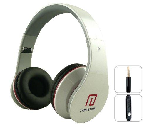 Langston  ® Faltbare Super Bass High Definition Kopfhörer (iM-12 V) in Weiß mit Mikrofon & Fernbedienung für Amazon Fire HD 6 Tablet, Amazon Fire HD 7 Tablet & Amazon Fire HDX 8.9 Tablet