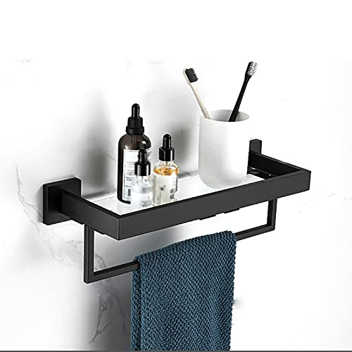 HPLL Bathroom glass shelf 8MM Extra-Thick Glass Shelf Bathroom Shelves Wall Mounted Glass Shower Shelf Tempered Glass with Polished Steel Bracket (Color : Style4, Size : 60 * 13.5cm)