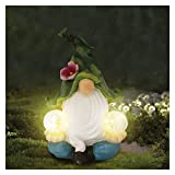 Gartenzwerg mit Solarlichtern, Gartenfigur aus Harz, Solar Gartenbeleuchtung Gartendeko, Außendekoration für Terrasse, Vorgarten, Garten (Stil A)