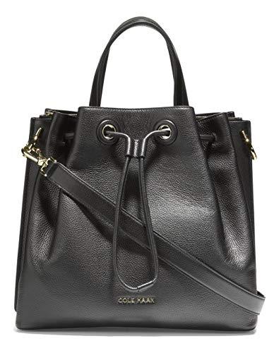 Cole Haan womens Leather Bucket shoulder handbags, Black, regular US