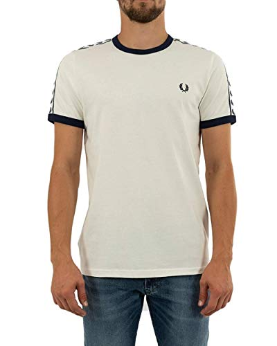 Fred Perry Taped Ringer T-Shirt Snow, Camiseta