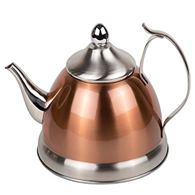 Creative Home 77075 1.0 Qt. Nobili Stainless Steel Tea Kettle with Removable Infuser Basket, Copper
