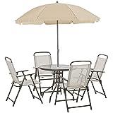 Outsunny Ensemble Salon de Jardin 6 pcs - Table Ronde + 4 chaises Pliables + Parasol - Acier époxy café textilène Polyester Beige