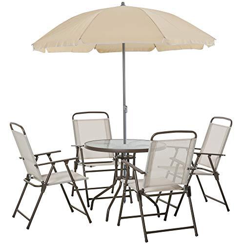 Outsunny Garden Patio Texteline Folding Chairs Plus Table and Parasol Furniture Bistro Set - Beige (6-Piece)