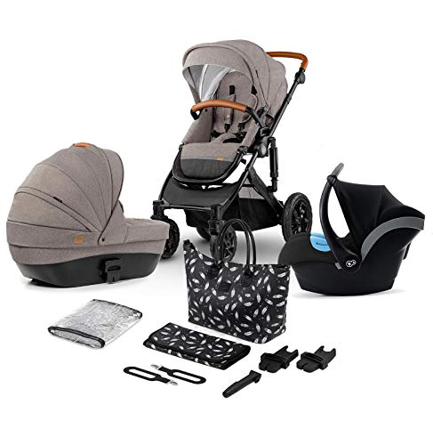 Kinderkraft Pram 3in1 Set Prime 2020, Travel System, Elegant Baby Pushchair, Buggy, Foldable, with Infant Car Seat, Carrycot, Accessories, Rain Cover, Footmuff, from Birth to 3.5 Years, Beige