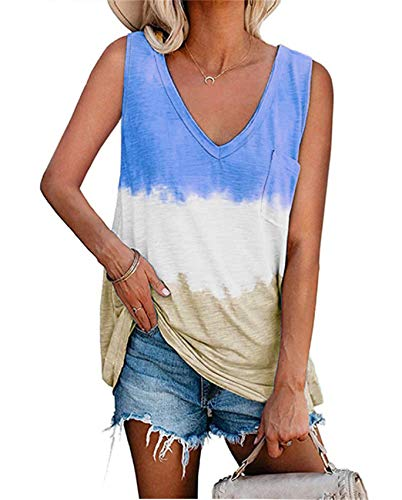 Camiseta Sin Mangas con Cuello En V Y Estampado De TeñIdo Anudado para Mujer Suelta De Primavera Y Verano