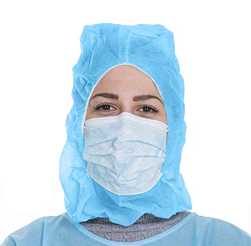 AMZ Polypropylene Hoods Pack of 100 Blue Hooded Caps Elastic Non-Woven Hoods Universal Size Hair Covers for Industrial Use Breathable Lightweight Unisex Disposable Hair Covers Medical Poly Hats