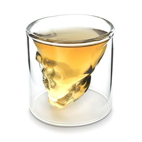 Grinscard Shot Glas für Tequila & Ouzo - Doppelwandig Totenkopf Design 75 ml - Skull Schnapsglas Hausbar & Party