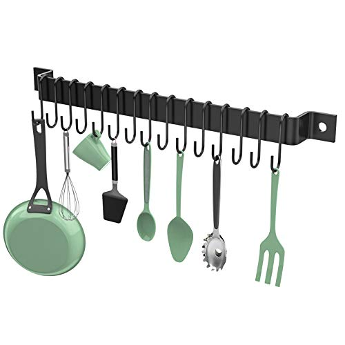 Housolution Kitchen Rail with 15 S Hooks 16 Inch Wall Mounted Pot Pan Rack Iron Hanging Storage Organizer Cup Hanger for Kitchen Utensil Cookware Black