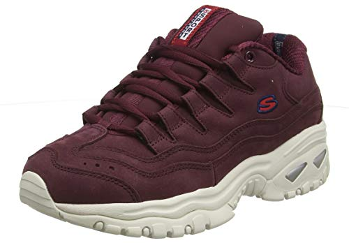 Skechers Energy, Sneaker Donna, Black Nubuck/Red & White Trim Burgundy, 5 EU