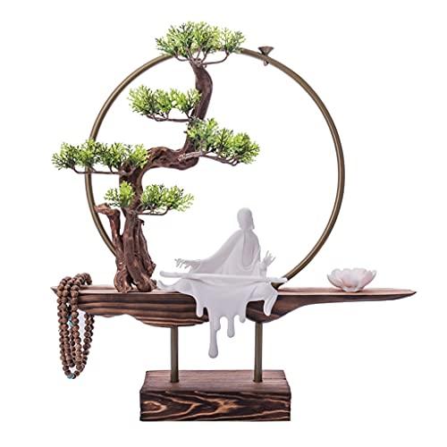 Arbol Artificial Árbol artificial Bonsai Zen Simulación Árbol Reflujo Censora Cerámica Escultura Budista Budista Accesorios Oficina Inicio Decoración interior Plantas de maceta de bienvenida de casa a