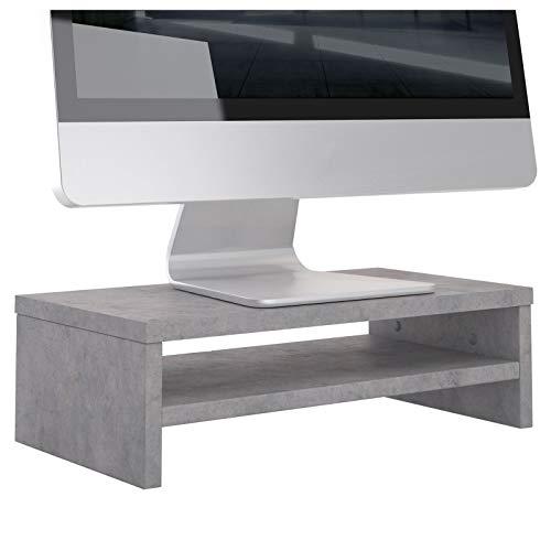 CARO-Möbel Monitorständer SUBIDA Monitorerhöhung Schreibtischaufsatz Bildschirmerhöhung mit Ablagefach, in Betonoptik
