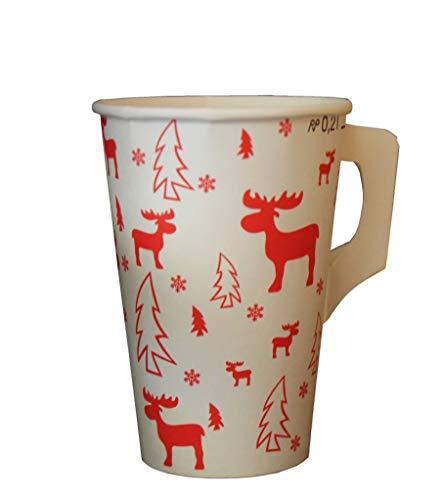 PGV Pappbecher Trinkbecher Weihnachten mit Henkel Elch 200 ml - Verschiedene Mengen (100 Stück)