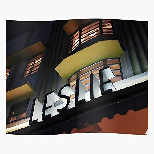 Deco Florida Architecture Style Miami Stylish Leslie Hotel Impresionantes carteles para la decoración de la habitación impresos con la última tecnología moderna sobre papel semibrillante