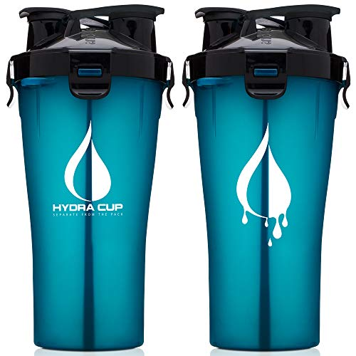 Hydra Cup - 30oz Dual Threat Shaker Bottle, Shaker Cup + Water Bottle, 2 in 1, Leak Proof, Awesome Colors, Save Time & Be Prepared (Shark Blue)