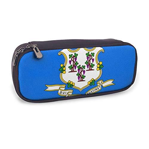 Estuche Escolar de Gran Capacidad,Bandera Del Estado de Connecticut,Bolsa de Lápiz Organizador para Material Papelería con Cremallera Doble