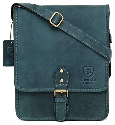 100% Pure Genuine Real Vintage Hunter Leather Handmade Mens Leather Flapover Everyday Crossover Shoulder Work iPad Messenger Bag (Distressed Blue)