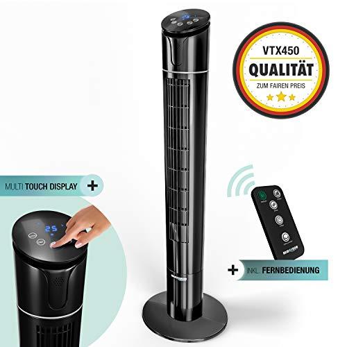 50W Multi Sensor Touch Turmventilator mit Temperaturanzeige| 110 cm leiser Säulenventilator mit Fernbedienung |Deutsche Qualitätsmarke| 60° Oszillation + 4 Lüftungs-Modi|RelaxxNow VTX450 Ventilator