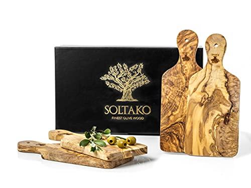 SOLTAKO Juego de 4 tablas de desayuno de madera de olivo, aprox. 29 x 12,5 x 2 cm, incluye mango, tabla de cortar, tabla de desayuno de madera de olivo, tabla de cortar y tabla de pan