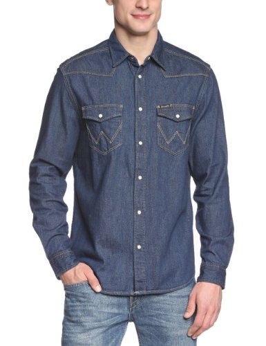 Photo of Wrangler Men's Western Long Sleeve Classic Denim Shirt, Dark Indigo, X-Large