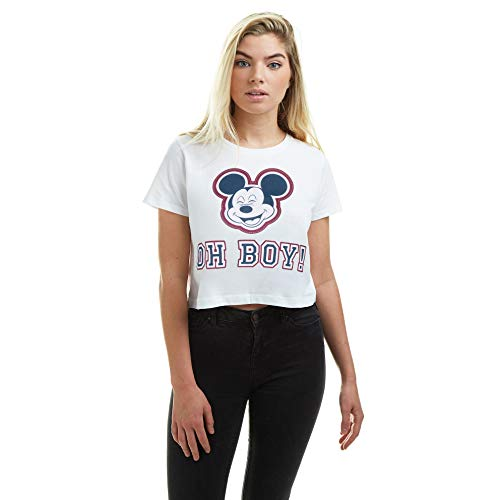 Disney Mickey Mouse-Oh Boy Cropped Tee T-Shirt Court, White, Small Femme