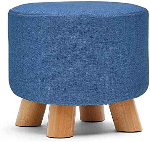 Awesome Warehouse Pouffe Ottoman Foot Rest Stool Small Shoe Bench With Feet Protection Round 4 Wooden Legs Blue